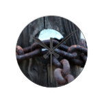 Nautical Chain – rusty chain around fence post Round Clock