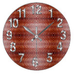 Orange/Brown Leather w/Tooled Background Print 1 Large Clock