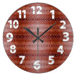 Orange/Brown Leather w/Tooled Background Print Large Clock