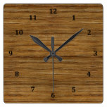 The Look of Driftwood Oak Wood Grain Texture Square Wall Clock