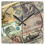 Vintage Rustic Travel Money Print Square Wall Clock
