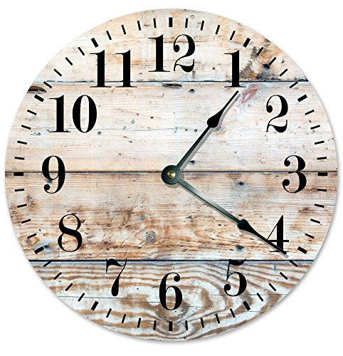 RUSTIC CLOCK Decorative Round Wall Clock Home Decor Wall Clock Large 10.5″ Novelty Clock PRINTED LIGHT TAN WOOD LOOK