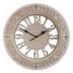 Foxtop 12 Inch Wall Clocks European-style Vintage Retro Antique Royal Style Resin Wall Clock, Creative Home Living Room Boutique Hotel Mute Wall Clock (Pink-white)