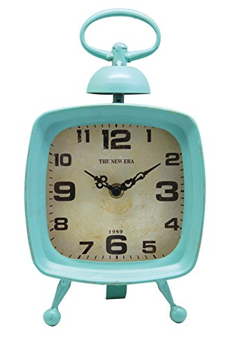NIKKY HOME Vintage Metal Table Clock with Handle and Decorative Bell, Blue 6 by 3.8 by 10 Inches