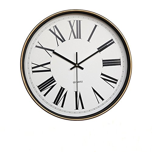 Foxtop 12-Inch Round Boutique Large Wall Clock Retro Wall Clocks European Classic Style Simplicity Gift Frame for Home Office Decoration