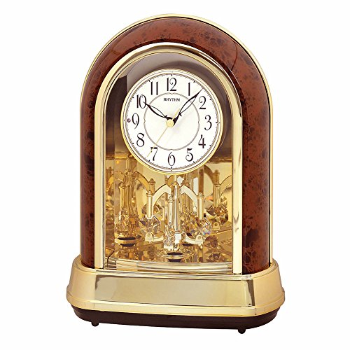 Musical Anniversary Gold And Woodgrain Table Clock