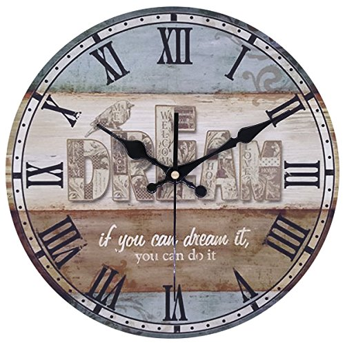 Arundeal 12 inches Rustic Wooden Round Analog Silent Quartz Wall Clock with Saying Dream If You Can Dream It, You Can Do it