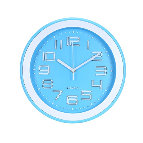 Blu Monaco Modern Round Stylish Elegant Home Kitchen/Living Room Wall Clock 12 inches – Light Blue and White – Chic, Classic Look for the Home – An Accessory that Makes a Statement