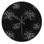 Black and white retro butterfly pattern. large clock