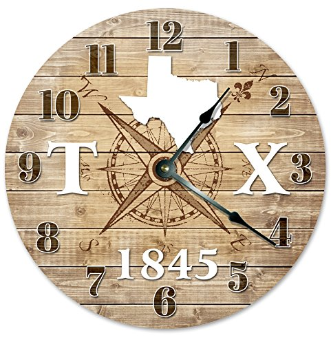 TEXAS CLOCK Established in 1845 Decorative Round Wall Clock Home Decor Large 10.5″ COMPASS MAP RUSTIC STATE CLOCK Printed Wood Image