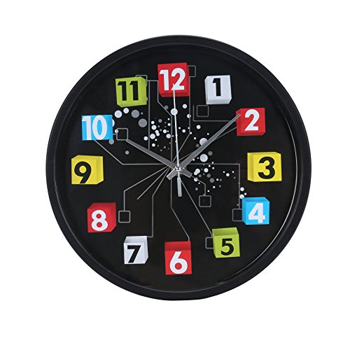 Blu Monaco Modern Round Colorful Black Retro Home Kitchen/Living Room Wall Clock 10 inches – Black and Multi-Colored – A Whimsical Addition to your Home – A Beautiful Throwback Design