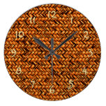 Chic Brown Faux Rattan Cute Zigzag Weave Pattern Large Clock