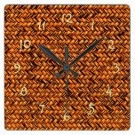 Chic Brown Faux Rattan Cute Zigzag Weave Pattern Square Wall Clock