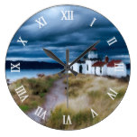 Dark Sky Over Lighthouse Large Clock