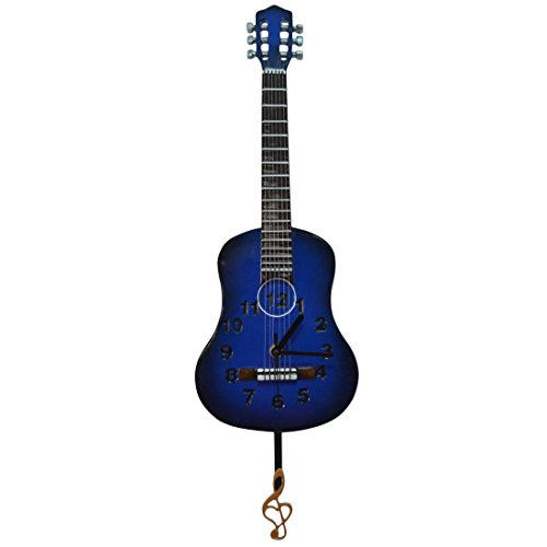 Giftgarden® Guitar Clock Wall Decor Arts, Blue