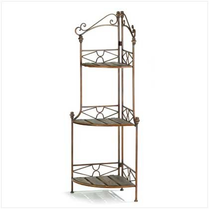 Rustic Style Metal Scrollwork Corner Bakers Rack Shelves