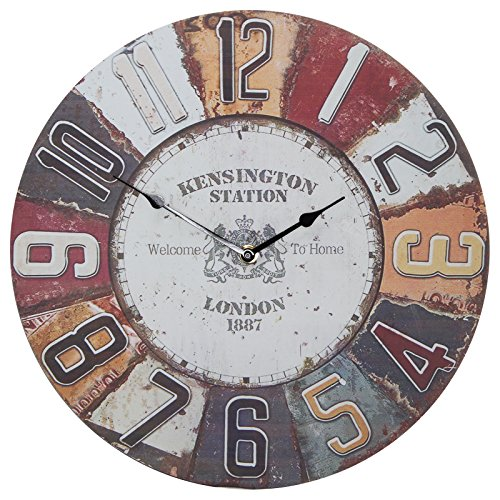 13″ Wall Clock with Vintage Kensington Station Rustic Prints