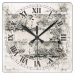 Old Brick and Bronze Square Wall Clock