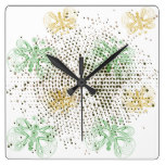 Retro butterflies pattern with halftones square wall clock