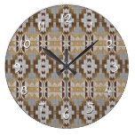 Trendy Native American Indian Cabin Mosaic Pattern Large Clock