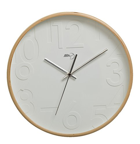 Maytime Silent Wall Clock Wood 11-inches Non Ticking Digital Quiet Sweep Decorative Vintage Wooden Clocks(Woodcolor)