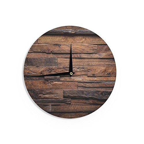 "KESS InHouse Susan Sanders ""Espresso Dreams"" Rustic Wood Wall Clock, 12″"