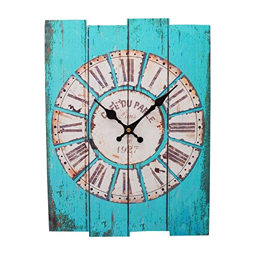 MISUE 15.3-INCH French Country Style Rustic Style Square Wood Wall Clock Indoor Vintage Wall Clock Retro Decor