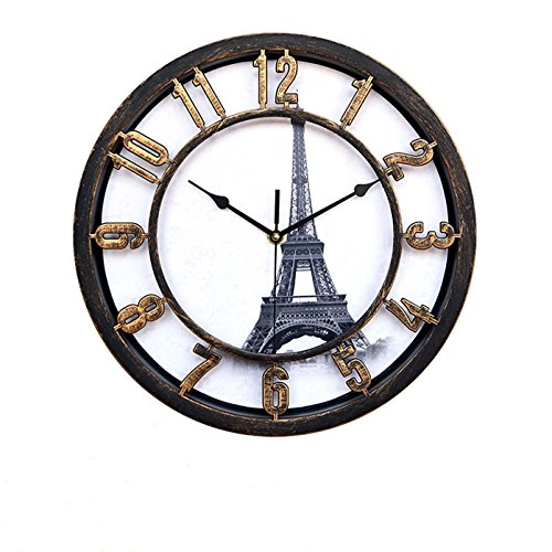 Creative clock – Foxtop World-renowned Architecture Background for Dial / Modern and Stylish 12.5-inch Round Wall Clocks Home Decoration (Gold – Eiffel Tower)