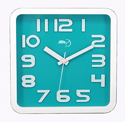 Maytime Modern contemporary Clear 3D Arabic Numerals Square Simple Wall Clock Silent Quartz, Bluegreen 9 Inches