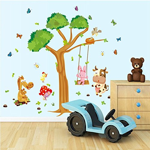 Wall Decals Forest Tree Playground – Easy Peel & Stick Wall Art Decor – Baby/ Kids Nursery Room Decorative Stickers