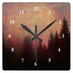 Abstract Forest Landscape Art Grunge Sky Colors Square Wall Clock