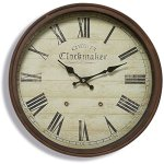 The Old English Chester Wall Clock, Precise Quartz Movement, Vintage Reproduction, Rustic Metal Beveled Circular Frame, 15 D Inches (38cm), Battery Operated (1 AA) By Whole House Worlds