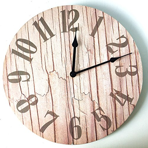Foxtop 12 Inch Round Vintage Rustic Country Tuscan Style Arabic Numerals Design Non -Ticking Silent Wooden Wall Clock Home Decor (Color D)