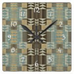 Caramel Coffee Brown Seafoam Green Mosaic Pattern Square Wall Clock
