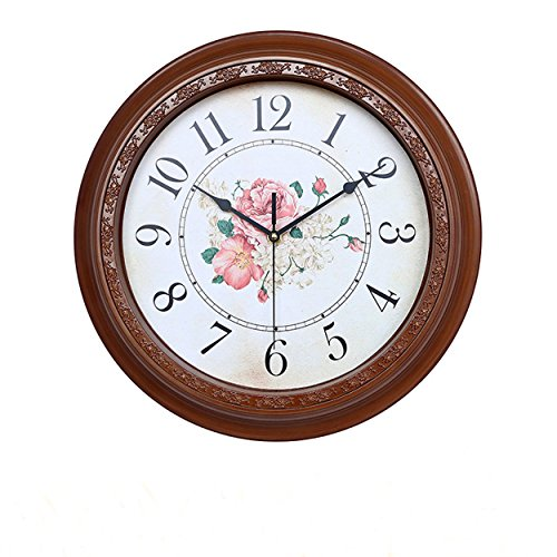 Foxtop 14 Inch Silent No-ticking Wall Clock Large Decorative Living Room Clock – Battery Operated Quartz Analog Movement Floral Dial with Arabic Numerals Display (Copper Color)