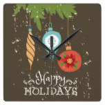 Happy Holidays Christmas Ornaments Decorative Square Wall Clock