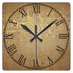 Vintage Gold Egyptian Hieroglyphics Paper Print Square Wall Clock
