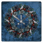 Wreath with Bluejay and Berries Wall Clock