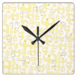 Yellow Elephant Country Rustic Baby Infant Gift Square Wall Clock