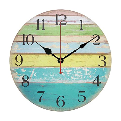 Wall Clock, Yamix Wooden 12″ Silent Wooden Wall Clock Home Decor Room Home Decorative Round Wall Clock Vintage Rustic Country Tuscan Style – Ocean Stripe A
