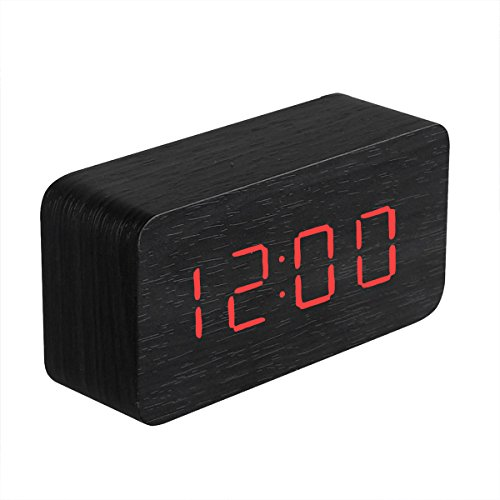 Wood Cuboid Digital Clock Alarm Thermometer Temperature Function Clap On Sound Control Clock (Black case)