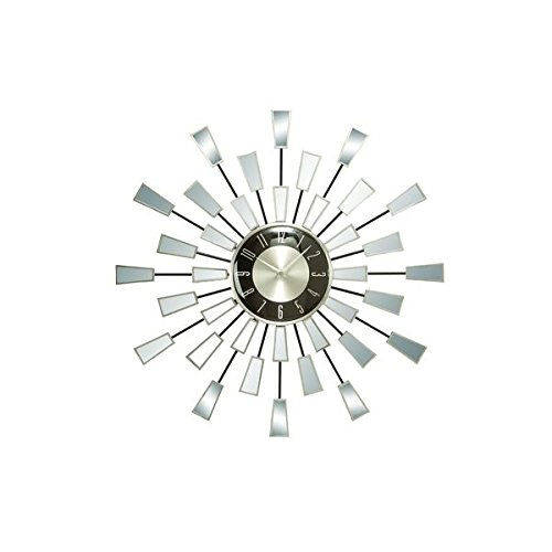 Stainless Stell Metal/Mirrored 22-inch Diameter Sunburst Wall Clock