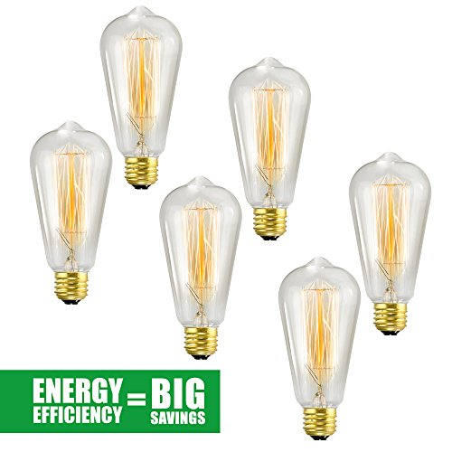 Edison Bulb 6 Pack – ST64 – Squirrel Cage Filament – Dimmable, Edison Style Vintage Light Bulbs