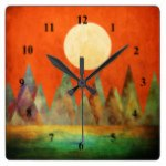 Abstract Landscape Full Moon Mountains Orange Sky Square Wall Clock
