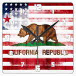 American California Flag | Wood & Brush Strokes Square Wall Clock
