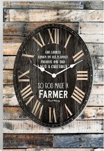God Made a Farmer Vintage Wood Look Wall Clock