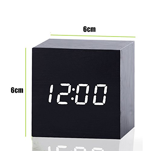 Pretty Handy Digital Wooden Alarm Clock Classic Wood Desk Travel Bedside Clock Voice Control Tabletop Clock Temperature Display