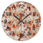 Rustic Fall Autumn Flower Floral Pattern Large Clock