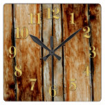 Rustic Wooden Fence Boards Timber-Effect Clock