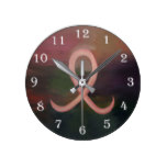 Supportive Rust Pink Breast Cancer Ribbon Red Round Clock